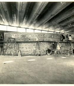 Foto de Lenio da construção do painel.